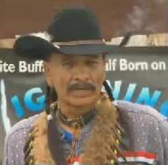 Arby Little Soldier, owner of the Lakota Ranch, addresses reporters during a May 4 press conference