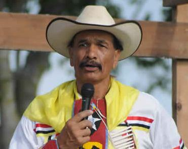 Arby Little Soldier addresses the crowd at the naming ceremony for Lightning Medicine Cloud in 2011