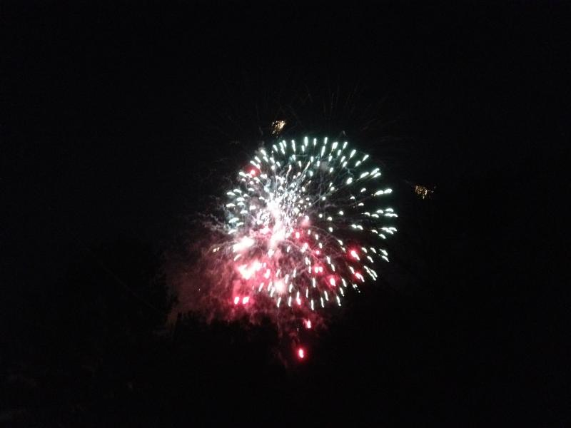Still image from the Commerce, TX fireworks display on July 1st, 2012.