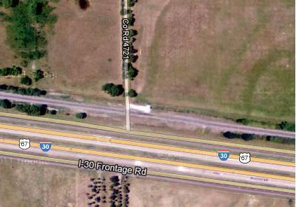 Intersection of CR 4721 and Frontage Road north of Interstate 30