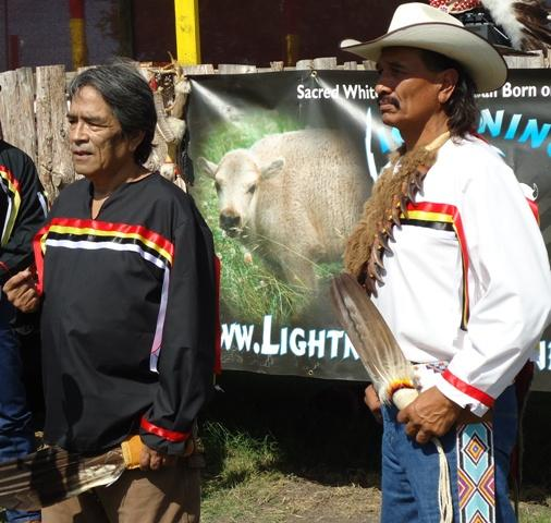 Sam Lone Wolf (Left) and Lakota Ranch Owner Arby Little Soldier address reporters Tuesday