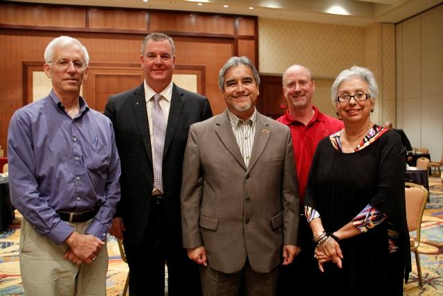 (L to R) David Stasny with Bryan ISD, Dan Mossakowski - Frisco ISD, Osvaldo Romero - Robstown ISD, (alternate) Thomas Darden with Cooper ISD, and Hilda Garza-DeShazo - McAllen ISD