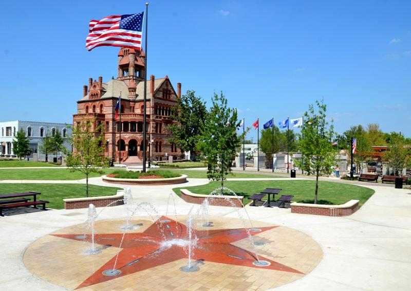 The Sulphur Springs interactive fountain downtown, unveiled June 30.
