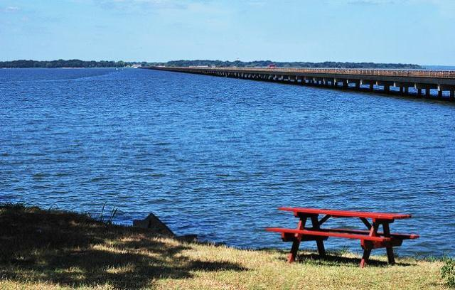 A view from the east shore of Lake Tawakoni, overlooking the current two-lane bridge.