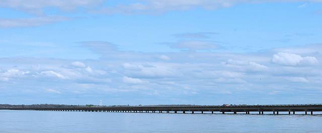 A panoramic view of the Lake Tawakoni Bridge