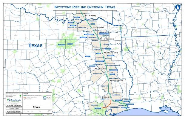 Map of pipeline route through Texas counties