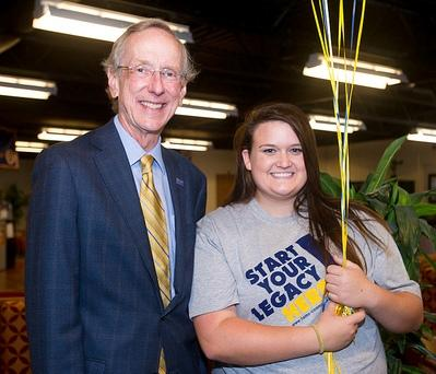 A&M-Commerce's 12,000th Student Hannah Wilson and University President Dan Jones