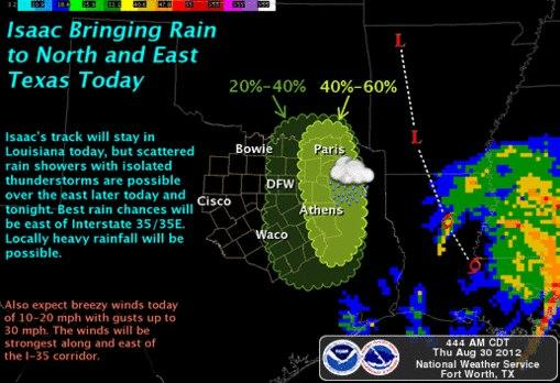 Portions of Texas likely to experience weather Thursday resulting from Isaac.