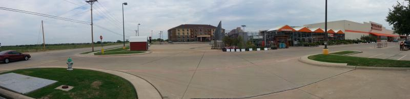 A panoramic  view of the Towne Center site. Home Depot and Comfort Suites (R), vacant lot (L)