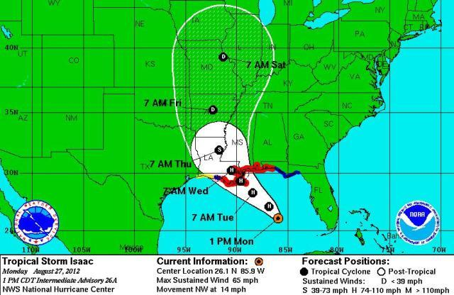Isaac forecast for 1 p.m. CDT Monday