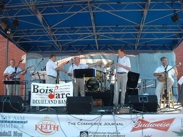The Bois d' Arc Dixieland Band is a familiar performer at the annual Bash