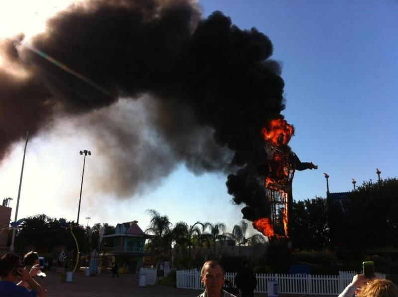 Big Tex burning at the State Fair of Texas