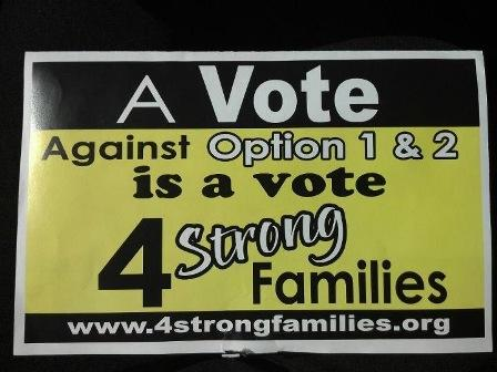 Signs in Sulphur Springs calling for a vote against alcohol sales