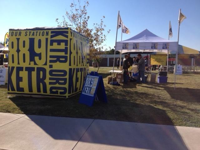 88.9 KETR makes its presence known with the 8-foot inflatable cube and the tent - ready for tailgating!
