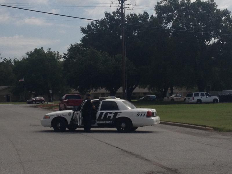 University Police block off Sterling Hart Dr. near Hunt Regional Hospital