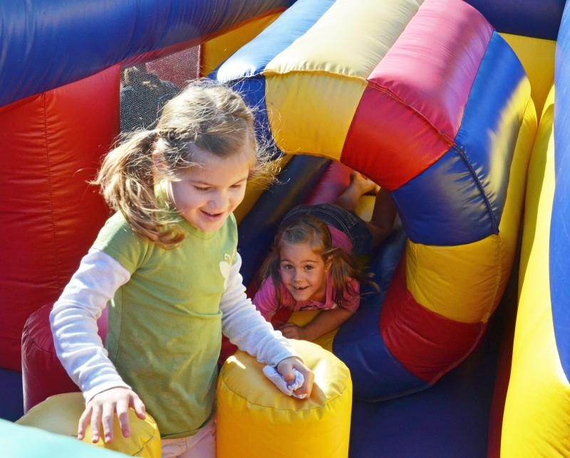 Children enjoyed the bounce houses and perfect weather at Chiggerfest in Chiggerville, Texas aka Cooper, Texas.