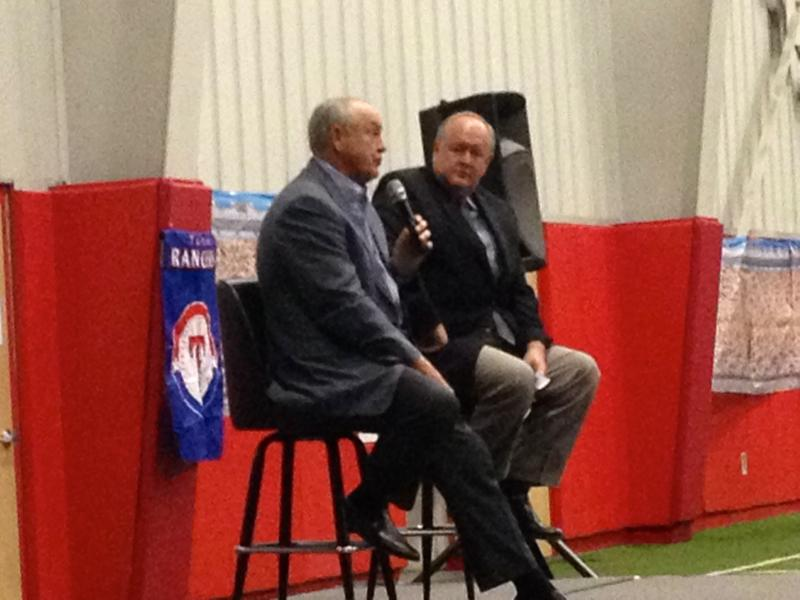 Nolan Ryan and Chuck Morgan of the Texas Rangers