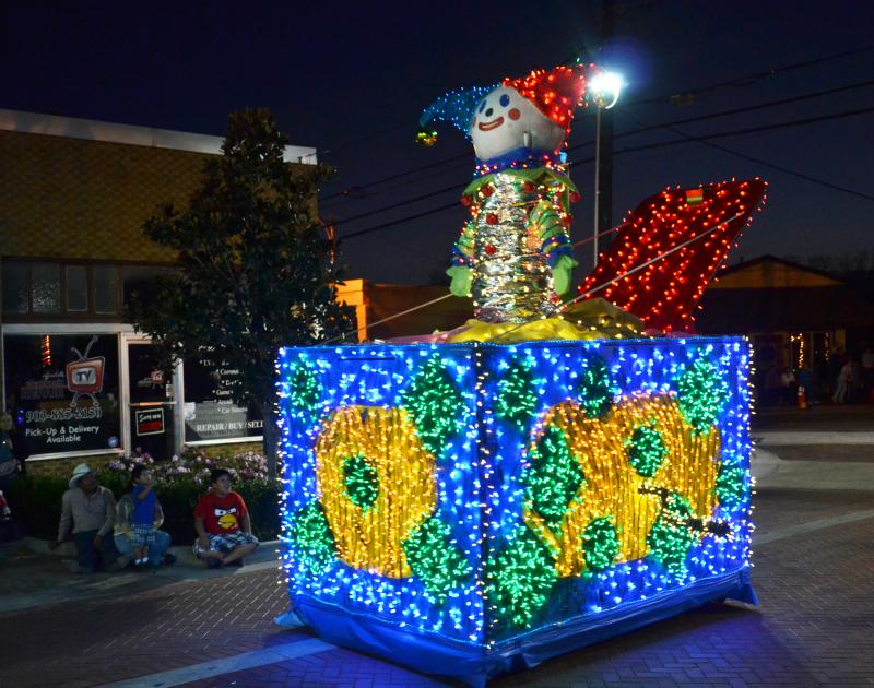 This colorful Jack In The Box entries was one of many at the parade in Sulphur Springs Saturday night.