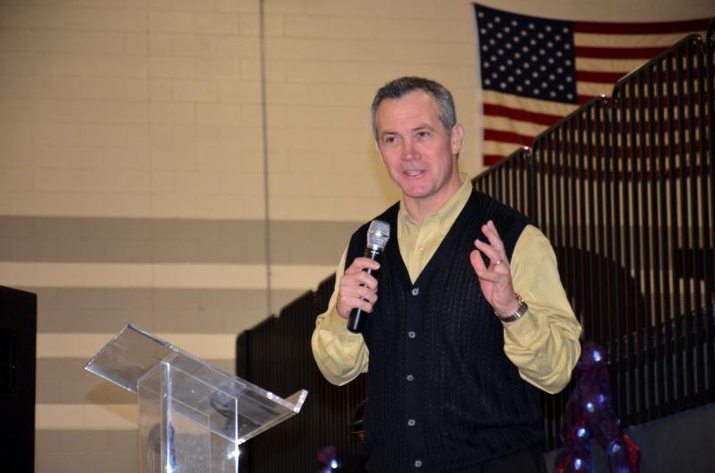 Evangelist Rick Gage spoke at the Feb. 18 event at Cooper High School.
