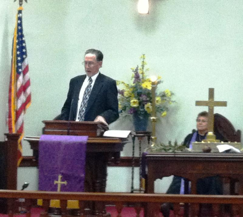Rev. Ken Sheppard-Mahaffey delivers the homily during a Feb. 13 Ash Wednesday service at Mackenzie United Methodist Church in Honey Grove.