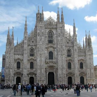 A restored Gothic Cathedral in Milan, Italy.