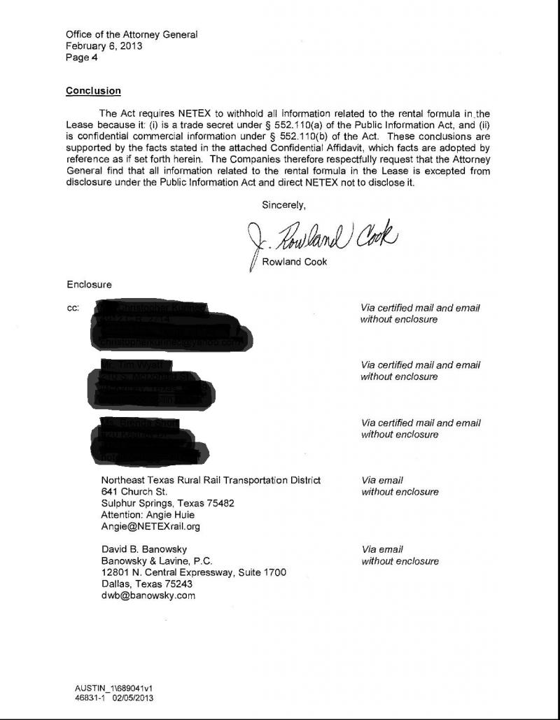 4 of 4: Letter from developers' attorney to state. Blacked-out names and addresses are those of private citizens requesting copies of the agreement.