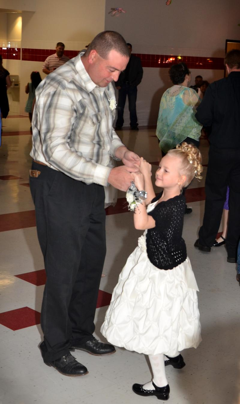 "Don Myers dances with his daughter Kaitlyn, a kindergarten student, at the ""That's my girl"" dance Feb. 9 in Hopkins County."