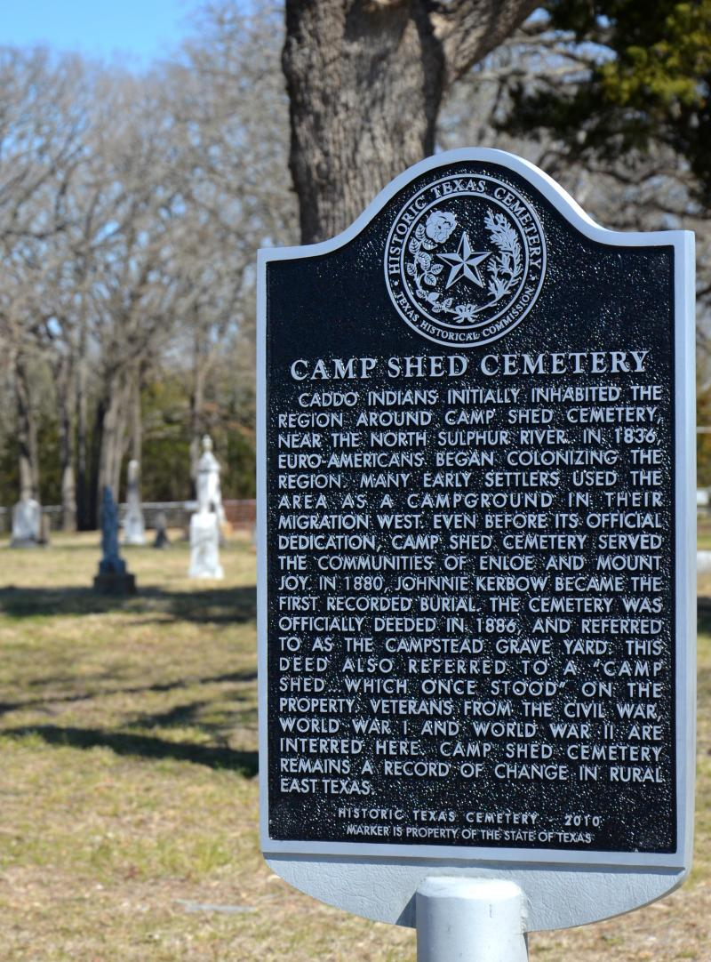 Camp Shed's historical marker.