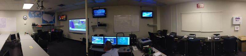 Panoramic view of the inside of the A&M-Commerce Emergency Operations Center