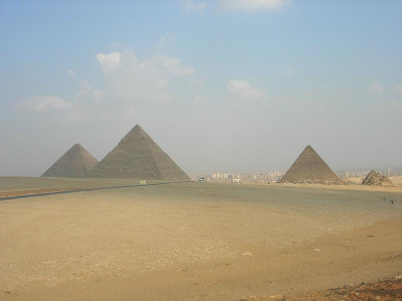 Egypt's famed Pyramids tower in the distance