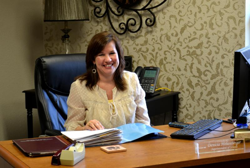 Cooper Superintendent Denicia Hohenberger at her new desk
