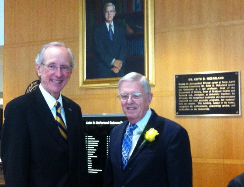 Texas A&M University-Commerce president Dan Jones and president emeritus Keith McFarland.