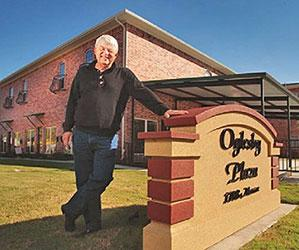 Mike Oglesby at the newly-constructed Oglesby Plaza in Commerce.