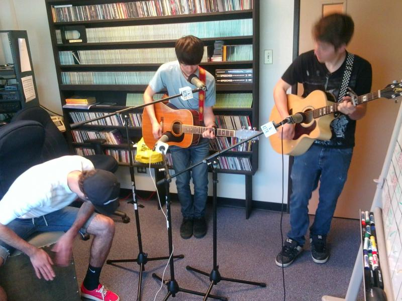 (Left to right) Hunter, Christian and James performing at KETR