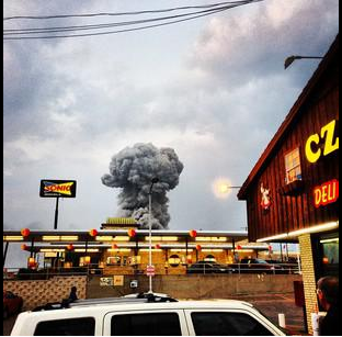 The view north from the parking lot of the Czech Stop bakery in West, TX, shortly after an explosion at a local fertilizer plant.