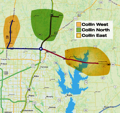 One of the three service zones is centered around U.S. Hwy. 380 east of McKinney.