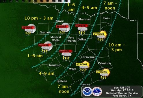 Storms could be severe northwest of Fort Worth.