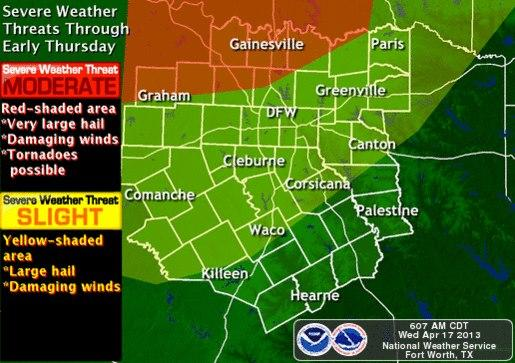 The greatest chance for severe weather is around the Wichita Falls area.