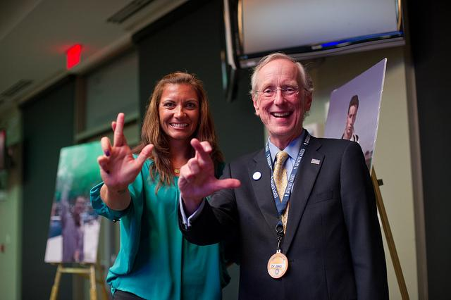 Misty May-Treanor with A&M-Commerce President Dan Jones