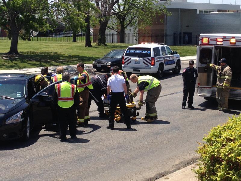 Emergency responders assess the scene.
