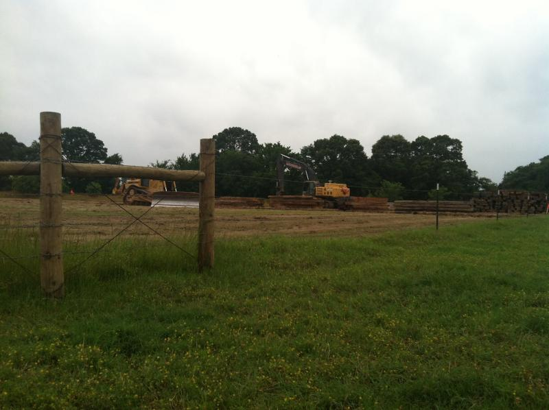 A new fence marks TransCanada's work area at Julia Crawford's farm in Lamar County.