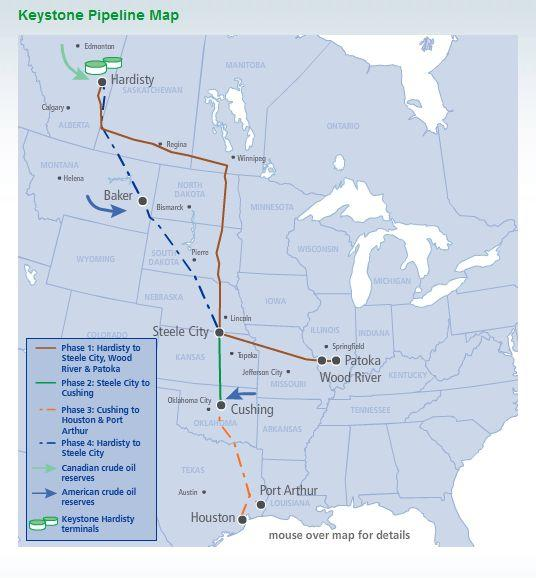 The North American overview of the Keystone XL project.