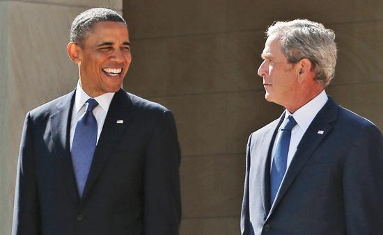 "President Obama and former president George W. Bush: Similar stances when it comes to what have been called ""national security"" issues."