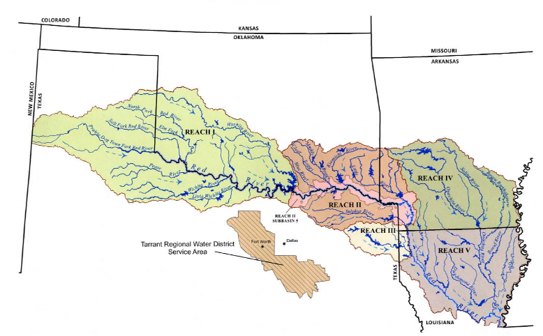 The Red River Compact governs water use among the four states that share the basin.