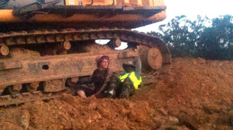 Protestors disrputed the construction of the Keystone XL pipeline near Seminole, Okla., on Monday.