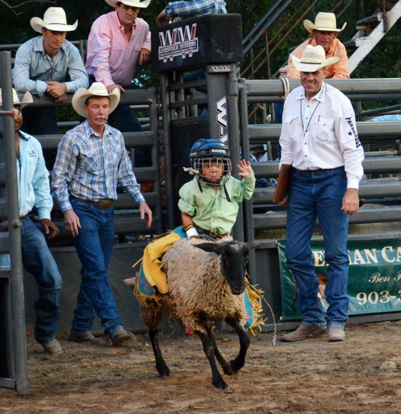 A few grown-up cowboys admire Jase Miller's form in the mutton bustin' competition.