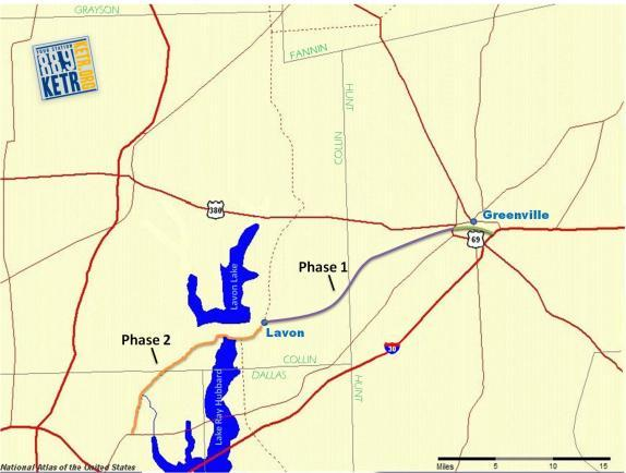 The route of the proposed toll road runs from just west of Greenville to Lavon.