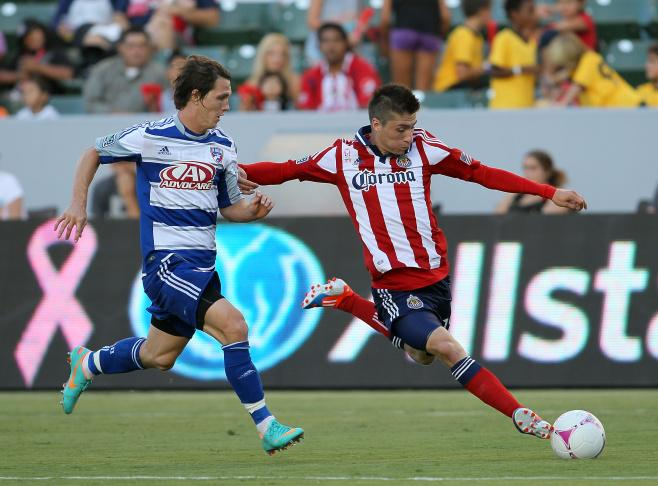 Jorge Villafana of Chivas USA, right, and Zach Loyd of FC Dallas compete during a Major League Soccer match in 2012 in Carson, Calif. FC Dallas is hosting Chivas USA on July 4 in Frisco.