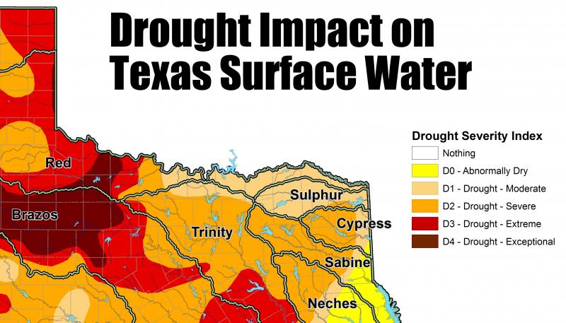 Much of Northeast Texas is in severe drought.