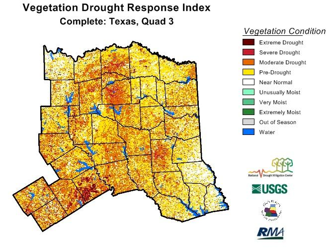 Most of Hopkins County's vegetation is in drought status.